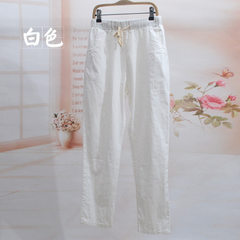 Hot style cotton and linen slacks loose large size white XXL [90-130 kg]