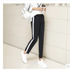 2018 new harajuku bf wind sports pants for women s Side of the white border s