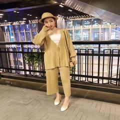 ASM2018春季新款 时髦针织百褶两件套装开衫阔腿裤时尚女装 淡黄上衣 S
