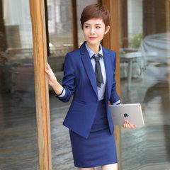 职业套装女秋装时尚气质长袖2017新款OL职业装西装正装酒店工作服 蓝色外套58 S