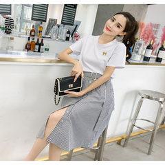 凤儿2018春夏季韩版学院风a字连衣裙 两件时尚套装女 一件代发 白色 S