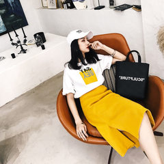 Spring 2018 new fashionable suit for women`s wear  Yellow two-piece suit s