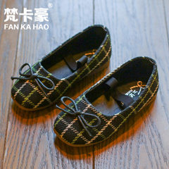 Spring and autumn new plaid girls shoes 2018 girl  AB - 55 black 26-30 yards, 5 pairs for each hand