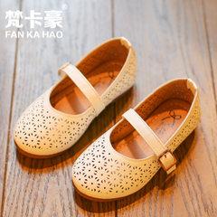 2018春季新款儿童小学生鞋 女童公主韩版皮鞋小女孩豆豆单鞋镂 AB02白色 ab02-2 21-25码一手5双