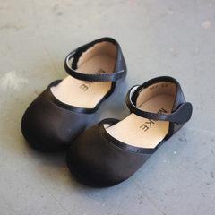 韩版女童公主鞋绸缎舞蹈鞋儿童学步鞋宝宝小单鞋2018新款小童凉鞋 黑色 21