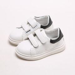 2018春季新款轻便小白鞋韩版爆款板鞋儿童休闲鞋厂家直销批发代发 黑色 21