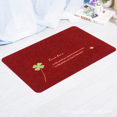 Hot - selling embroidered carpet outdoor mat adver Dark red clover 38 * 58 cm