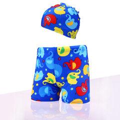 卡通儿童泳裤平角宝宝泳裤男童加大码大童温泉游泳衣选配泳帽特批 大象裤+帽 M