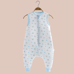 New spring and autumn baby sleeping bag pure cotto Blue vest m
