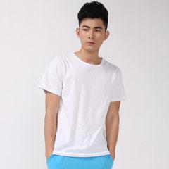 Pure cotton pure color round collar men`s short sl white s