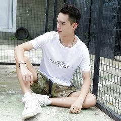 Men`s style T - shirt fashion Korean version slim  white m