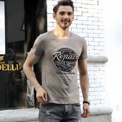 2018 summer new men`s T - shirt European and Ameri gray m