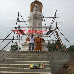 Spot white jade carving three sides of guanyin fac Spot 9.9 m high nanhai three face guanyin deposit