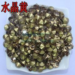 厂家批发aa级水晶黄色国产国贸美甲diy尖底玻璃饰品水钻 p31=3.8-3.9mm1440颗