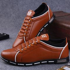 春季新款男士皮鞋时尚韩版英伦运动风休闲跨境特大码男鞋一件代发 黄色 38