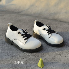 2018 new children`s boy black leather shoes leathe white 26