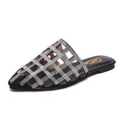 2018夏季新款尖头包头时尚镂空水钻平底半拖女凉拖鞋厂家一件代发 黑色 35