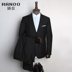 男式商务西服修身高档职业西装套装男两件套定制职业正装休闲礼服 黑色 上衣46码(M)