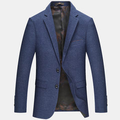 2018 new spring and autumn men`s casual suit men`s blue 170 / M