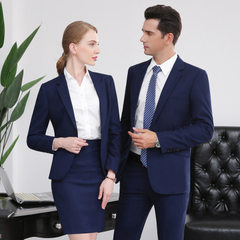Autumn winter business dress suit men`s and women` M: black suit and trousers s
