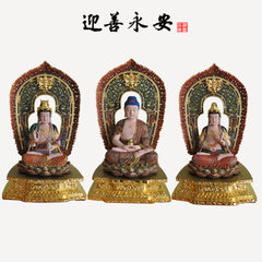 Western three holy wood statue of Buddha manufactu Camphor white embryo of 50cm