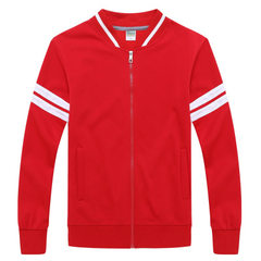 The new autumn men`s baseball suit jacket collar b Red thin section s