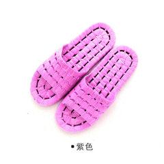 1487浴室拖鞋防滑洗澡漏水居家室内男女塑料家居情侣凉拖鞋夏季 紫色 36/37