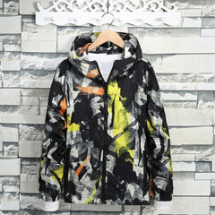 Spring and autumn youth camouflage print jacket me yellow m