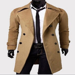 Foreign trade hot style long double-breasted men`s khaki l