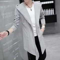 Summer men`s windbreaker in the long gd with the s Medium length and velvety solid color (grey) (one random T-shirt) M (within 100 kg)