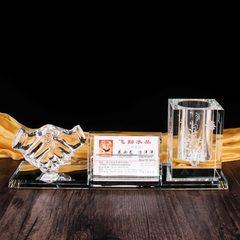 水晶三件套笔筒实用型送朋友比赛活动纪念办公学生文具礼品教师 300*90*90mm格层笔筒
