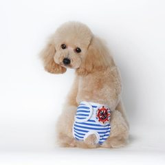 Pet clothes physical pants stripes teddy menses do The blue stripe S: waist 25 to 30 cm