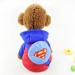 Pet dog clothes with two feet thickened with fleec Superman with a hat and a purse xs