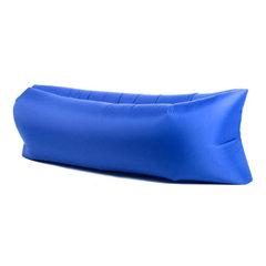 快速充气便携式空气沙发袋沙滩懒人睡袋口袋床方头可折叠户外用品 宝蓝 190T涤塔夫