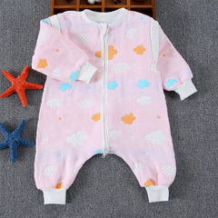厂家批发六层儿童宝宝婴儿纯棉纱布睡袋爬服抱被分腿连体衣防踢被 彩云款粉色 70