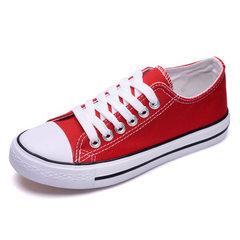 Flat-bottomed canvas shoes spring women 2017 new s red 35 (female)