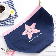 Girls` pure cotton underwear new hot style combina Navy blue sea star l