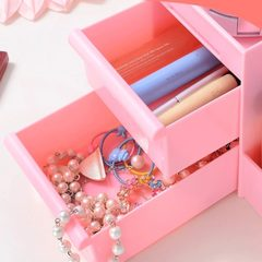 化妆品收纳盒抽屉式收纳盒塑料桌面化妆品收纳盒一件代发定制 中号290*180*130 OPP袋装