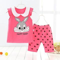 2018 new summer children`s short-sleeved five-cent Rose-red rabbit lapel 80 cm