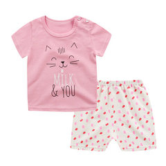 Korean children`s suit 2018 summer new children`s  Pink cat Broken color hair similar color