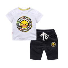 新款童装儿童夏季T恤短袖短裤套装男童女童宝宝纯棉休闲两件套 白色+黑色短T套装 80cm