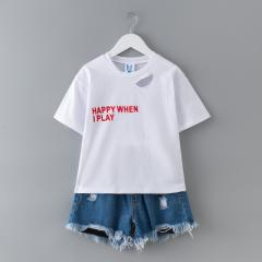 Children`s suit summer 2018 new middle and large c White/spot 110 cm