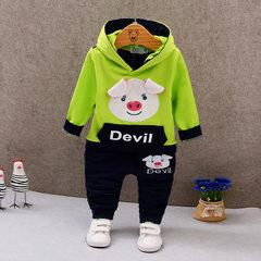 Children`s suit 2017 spring new children`s cotton  Spring and autumn piglet set green 80 cm