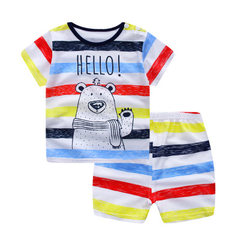 Spring and summer children short sleeve suit T - s Child`s suit, striped bear 70 cm