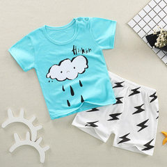 The new children`s short-sleeved shorts suit in su Rain clouds - short sleeves Size 55 is recommended under 80cm