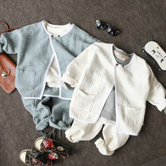 18年新款儿童春季童装 中小童韩版长袖套装 男女童棉麻外套长裤 白色上衣 100cm-140cm/1手5件