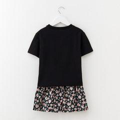 儿童短裤套装夏碎花2018新款中大童纯棉t恤两件韩版童装一件代发 黑色/现货 110cm