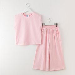 女童套装韩版2018夏季童装纯棉两件套纯色中大童宽松背心套装批发 粉色/现货 120cm