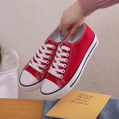 一件代发新款春季小白帆布鞋女经典款板鞋原宿百搭学生情侣布鞋男 女红色 35