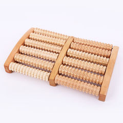 Roller-type foot massager for the elderly wooden f Large white double-six row plantar applicator